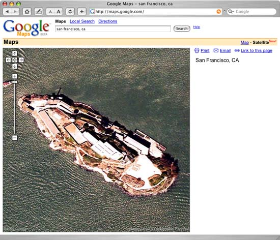 Google Map View of Alcatraz