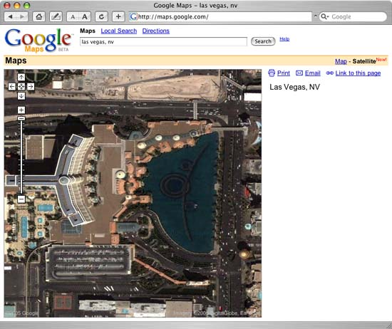 Google Map View of the Bellagio in Las Vegas