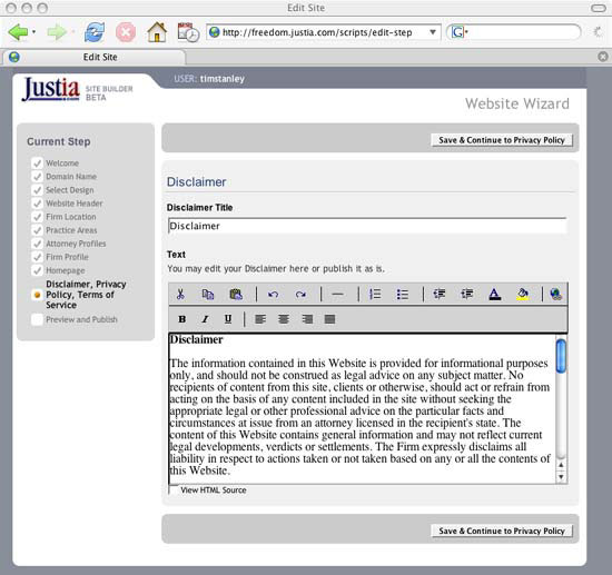 2. Initial Data Entry - Justia's Free Law Firm Web Sites — Legal ...