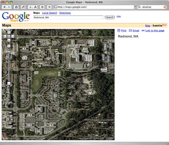 Google Map View of Microsoft