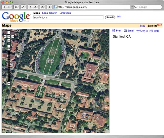 Google Map View of Stanford