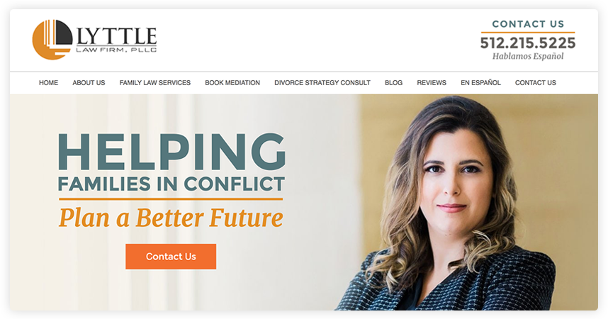 The attorney's headshot is set off to the right, leaving enough space for the tagline and contact button.