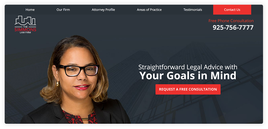The attorney's blouse blends in well with her logo and other red elements in the web page.