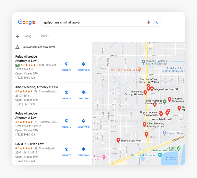Google My Business Data in the Local Finder