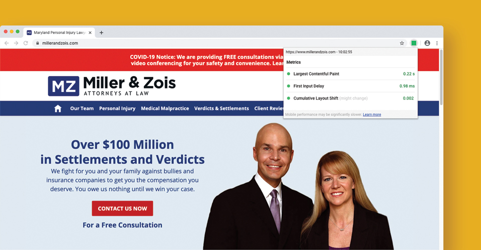 Miller and Zois site also scored great in all 3 metrics