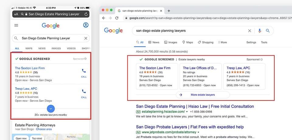 Search Results Screenshots showing Local Services Ads
