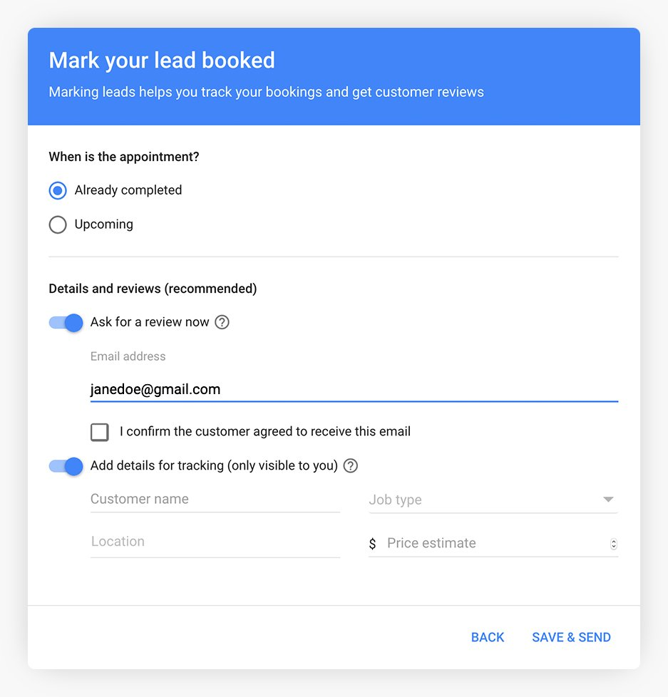 Google LSA booking lead reviews