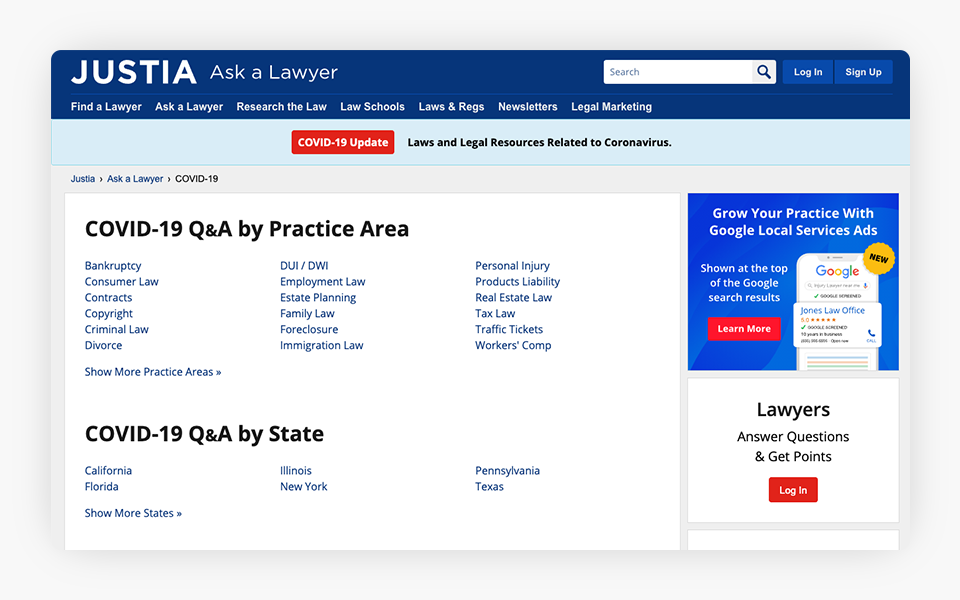 COVID-19 Q&A Added to Justia Ask a Lawyer