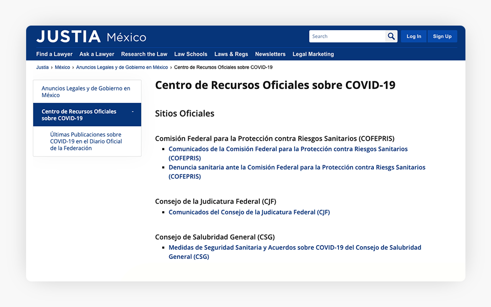 COVID-19 Resources Center Released on Justia Mexico Portal