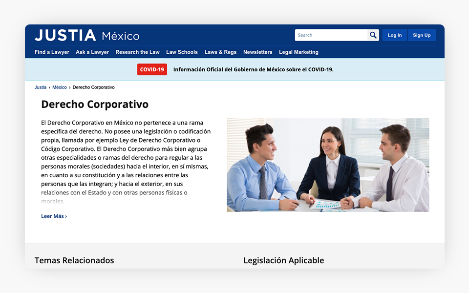 Corporate Law Center Released on Justia Mexico Portal