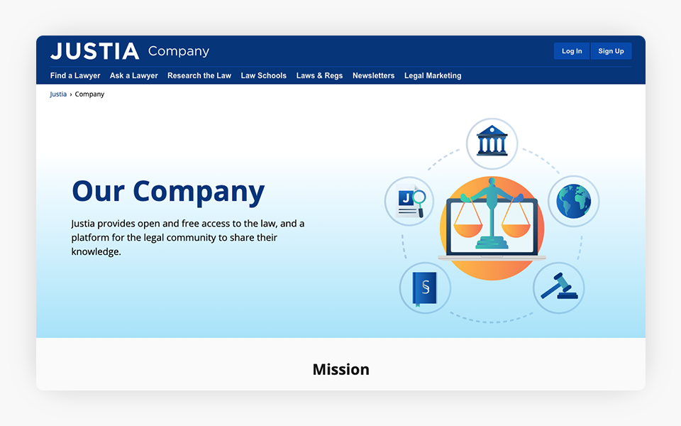 Justia Company Site Redesigned