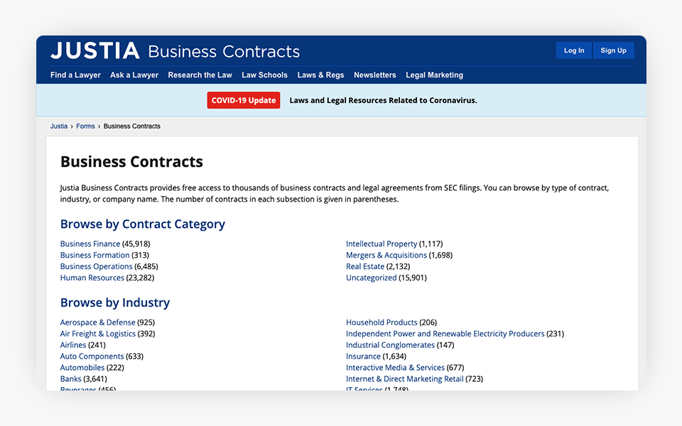 Justia Portal Introduces Business Contracts Center