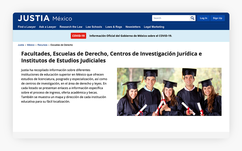 Mexican Law School Resources Released on Justia Mexico Portal