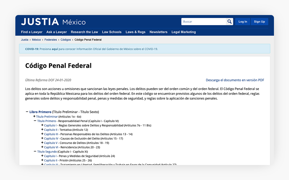 Mexico Federal Criminal Code Released on Justia Mexico Portal