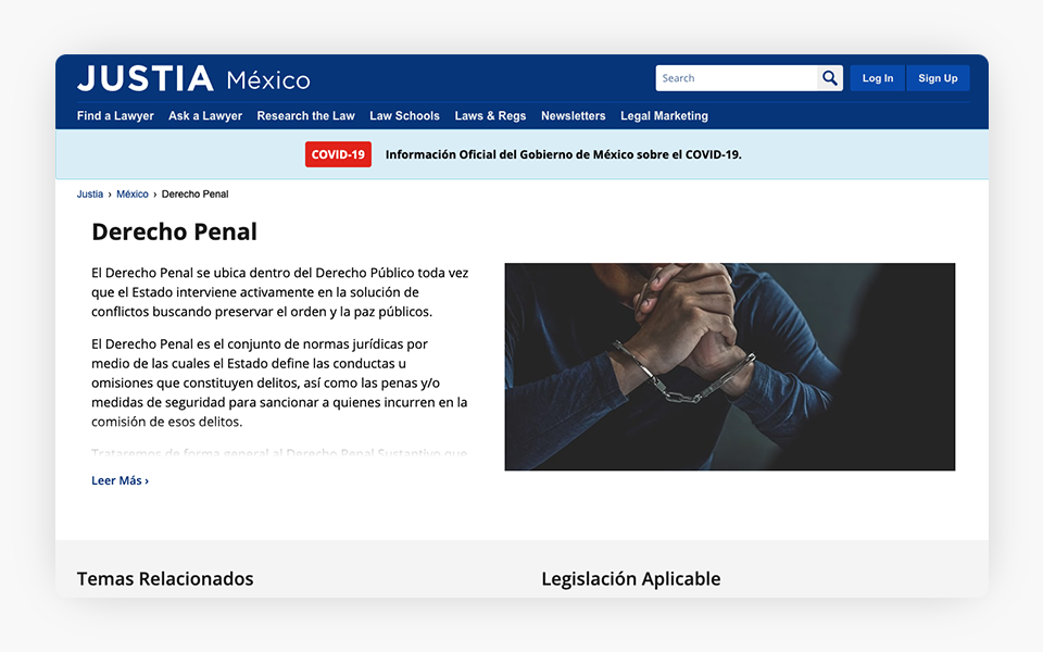 New Criminal Law Pages Added to Justia Mexico Portal