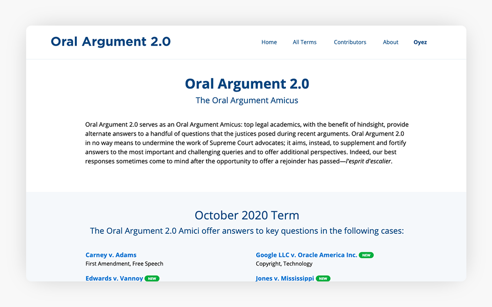 Oyez Blog Launched Oral Argument 2
