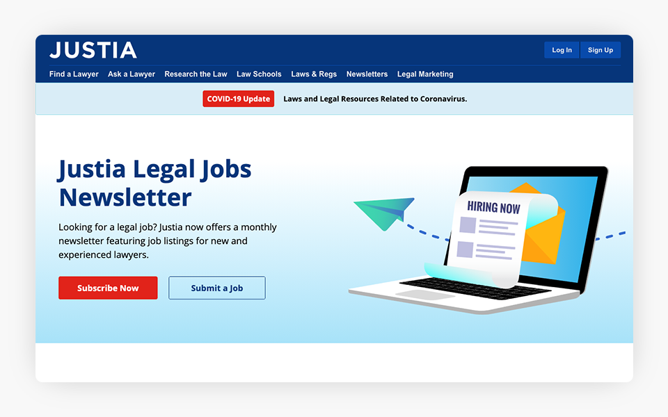 Redesign of Justia Legal Jobs Site Launched