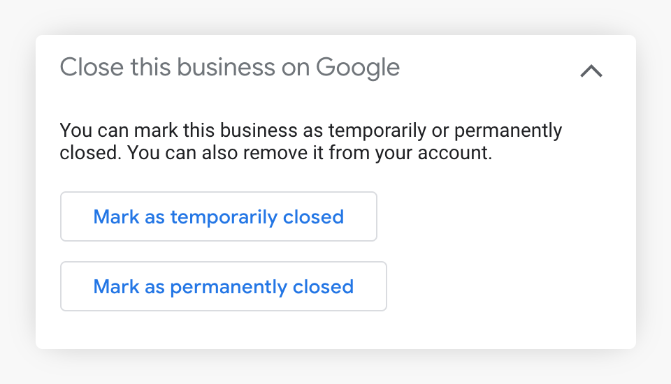 Temporarily Closed Button