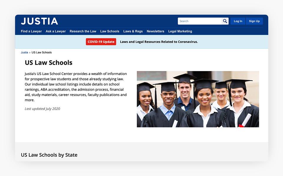 US Law School Resources Added to Justia Portal