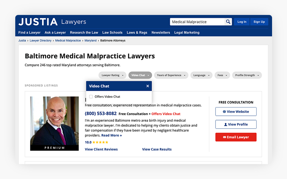 Video Chat & Conferencing Services Added to Justia Lawyer Directory
