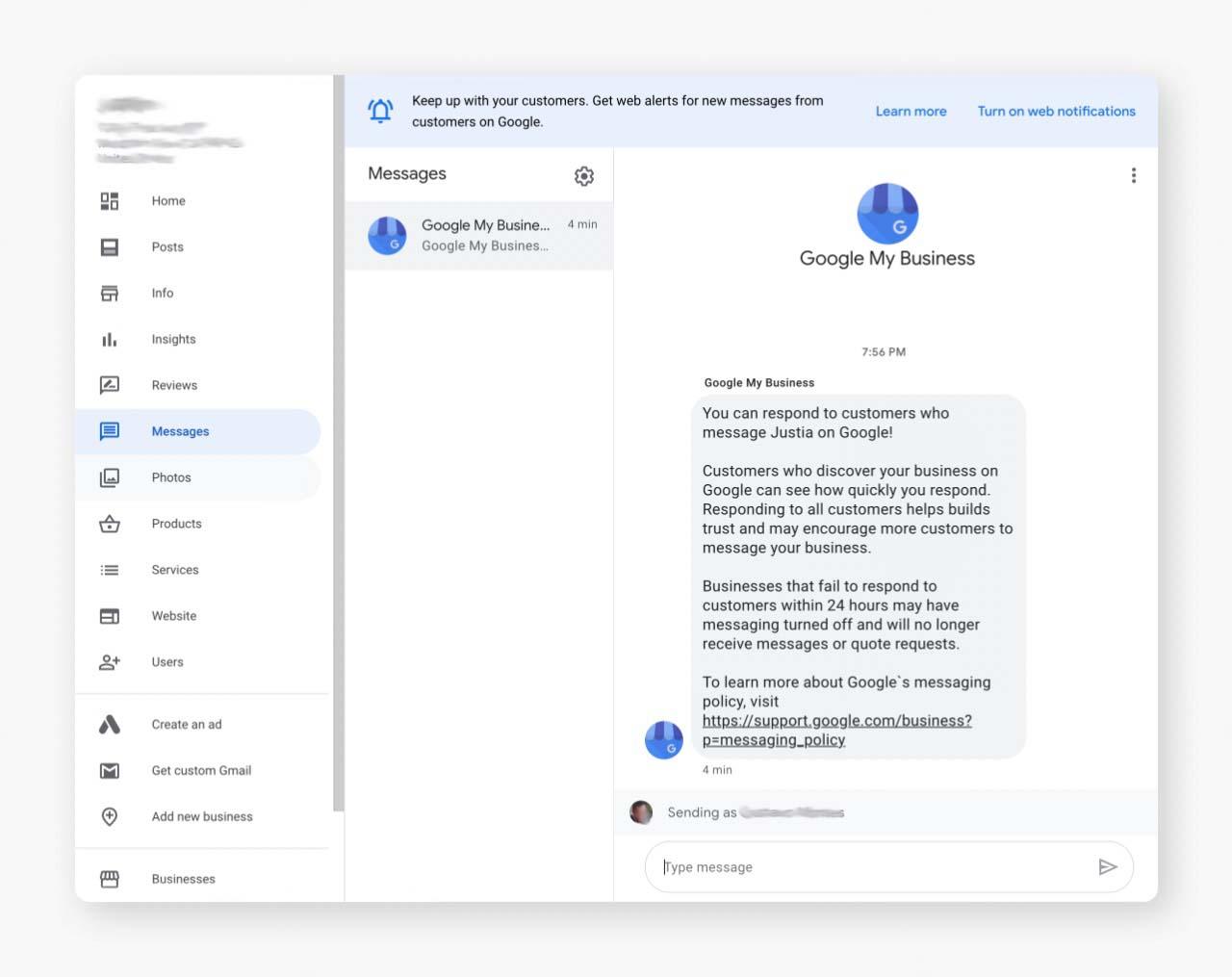 GMB Desktop Messaging Feature