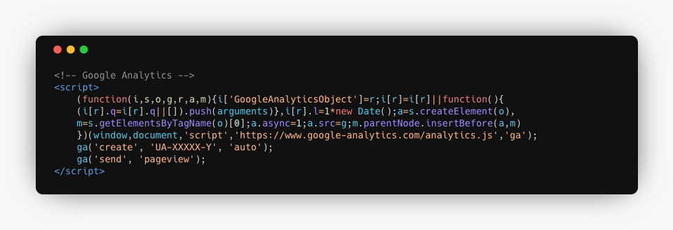 Universal Analytics Code Example
