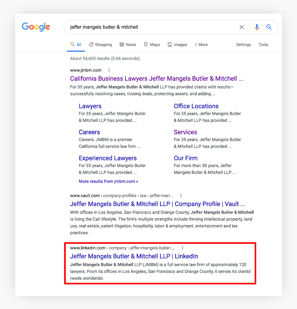 JMBM Google Search Results
