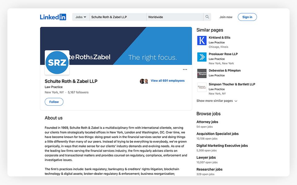 Schulte Roth Zabel LinkedIn LinkedIn Page