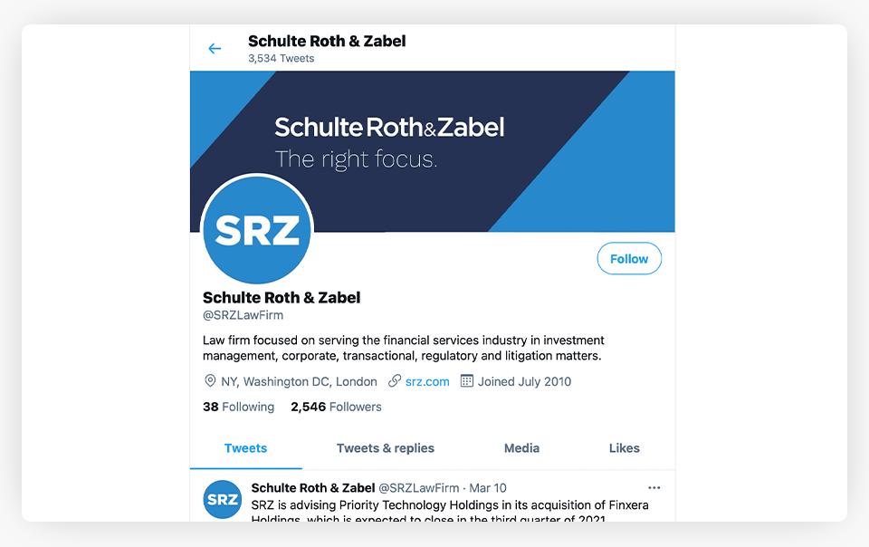 Schulte Roth Zabel Twitter Profile