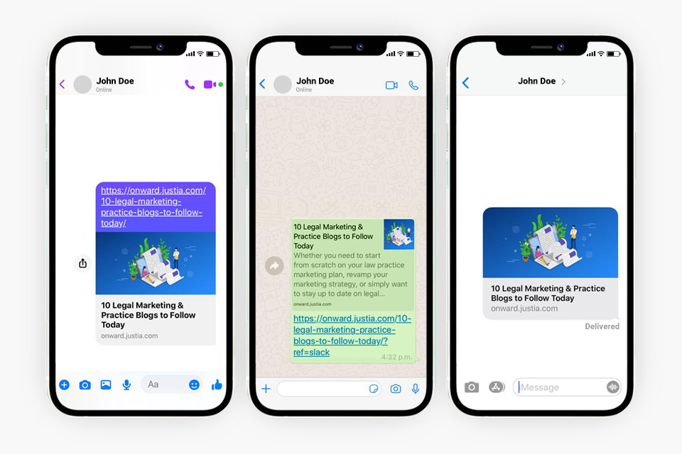 Example of a link preview on Messenger Whatsapp iMessage