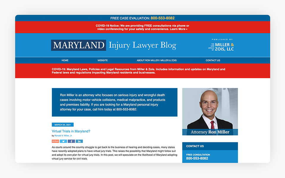 Attorney Ron Miller - Maryland Injury Lawyer Blog