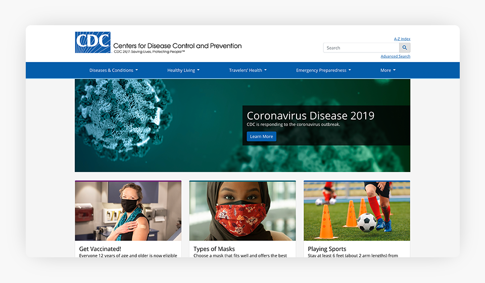 Centers for Disease Control and Prevention Website