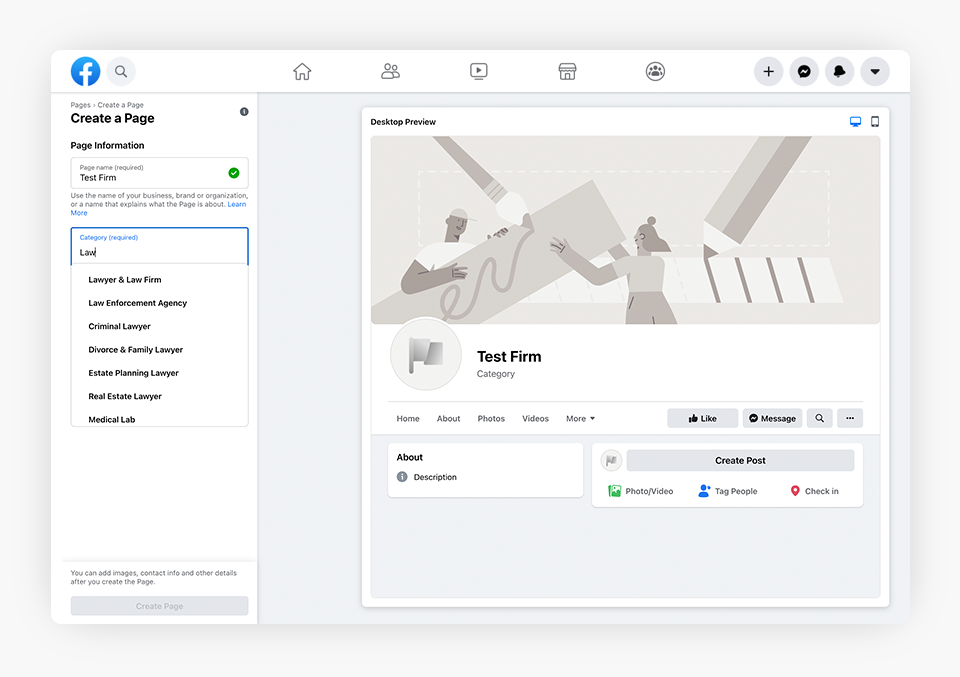 Create a Page - Screen