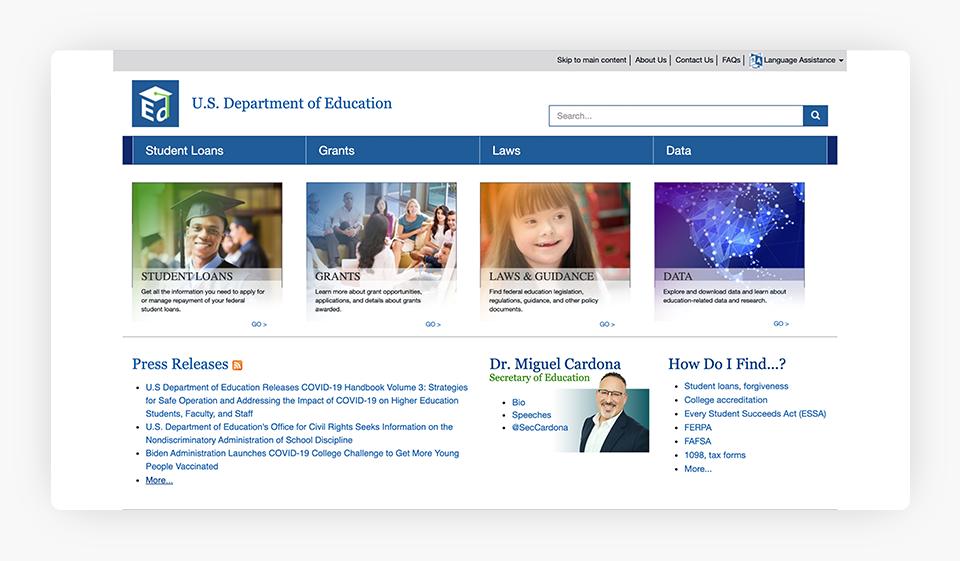 U.S. Department of Education Website
