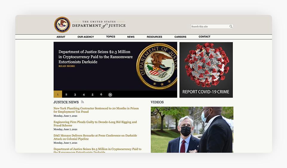 Department of Justice Website