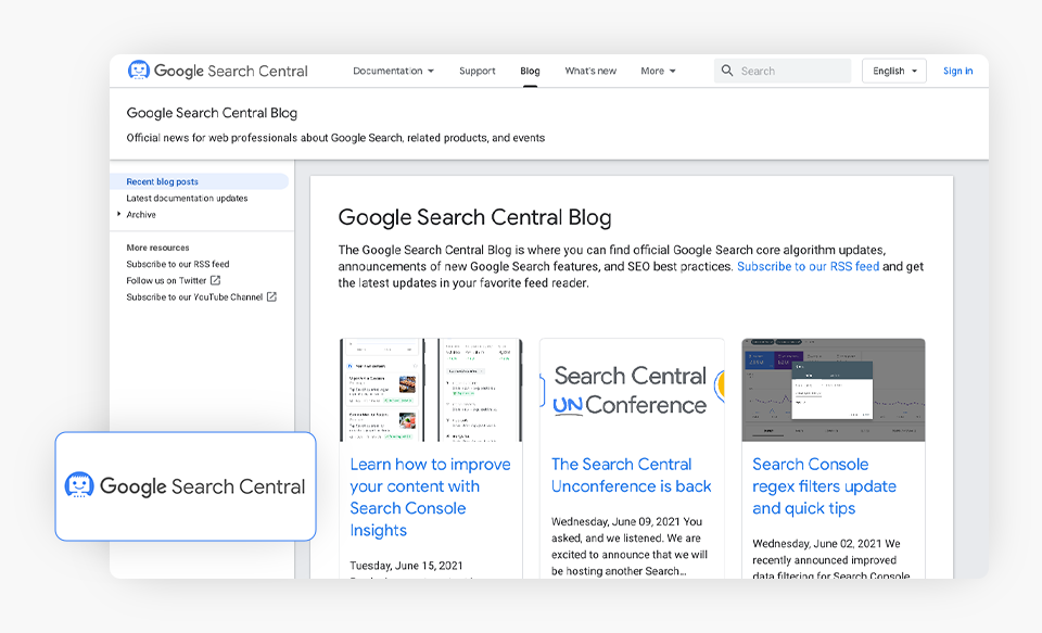 Google Search Central Blog Homepage