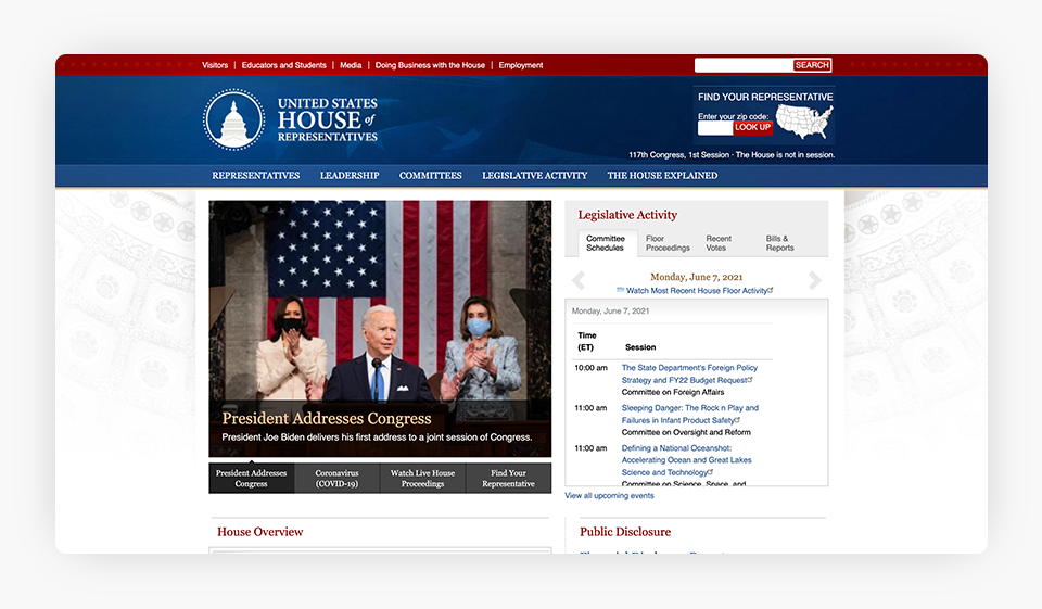 U.S. House of Representatives Website