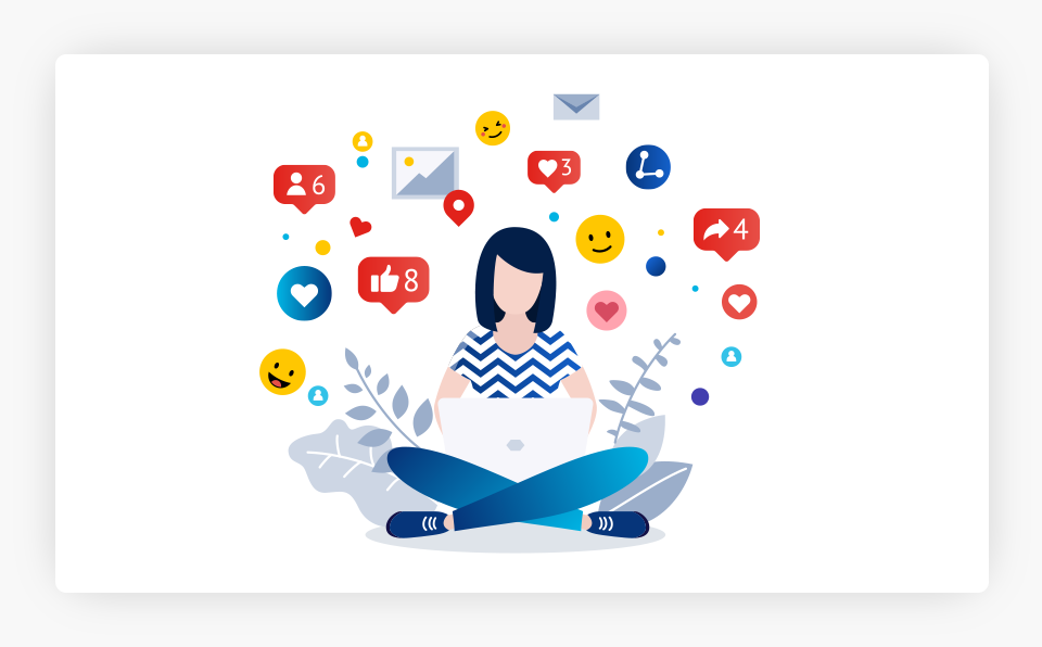 Person on Laptop With Icons