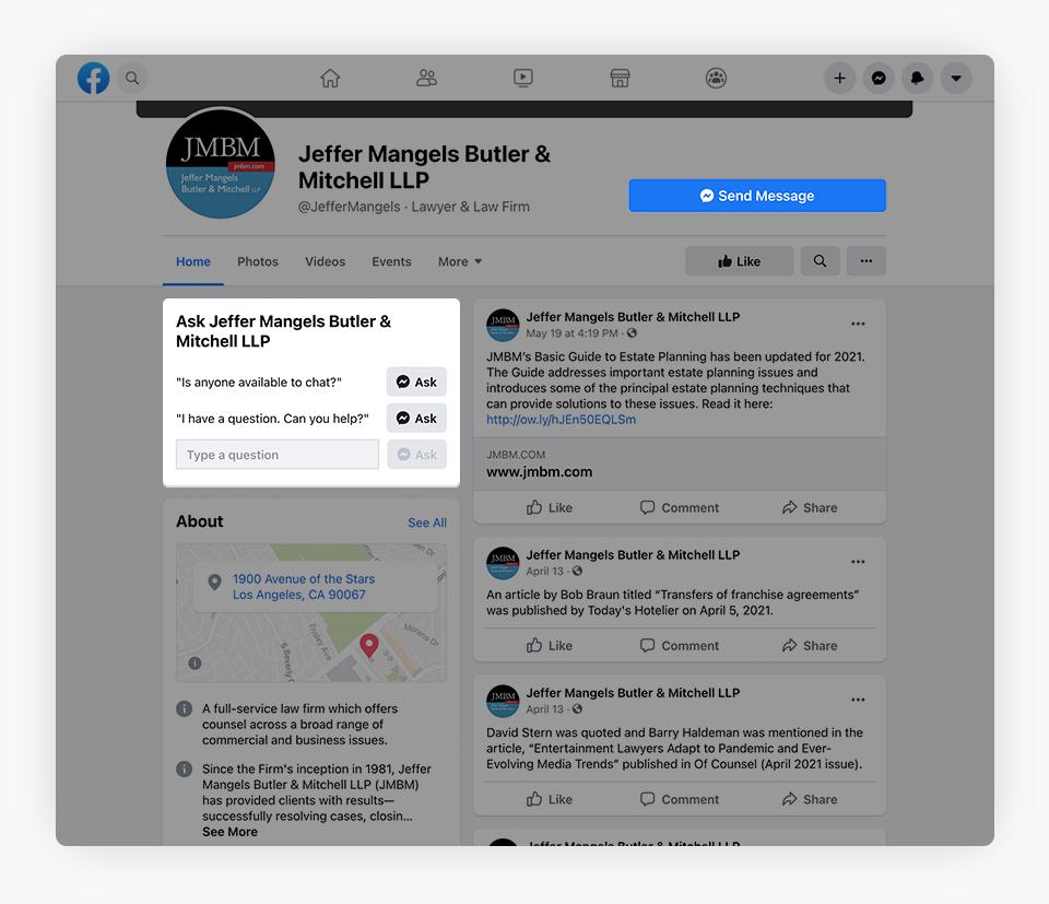 JMBM - Messaging Buttons - Facebook