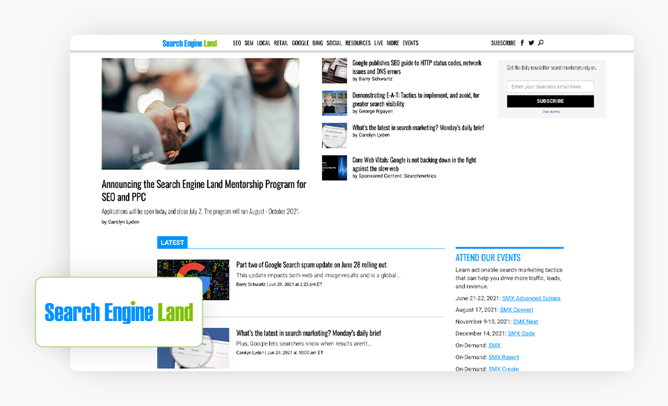 Search Engine Land Homepage