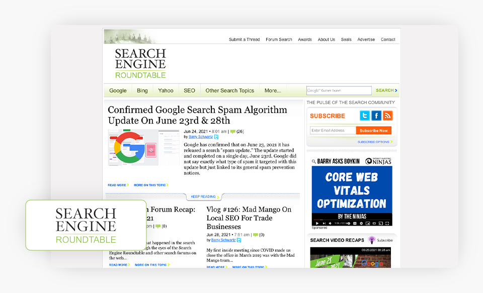 Search Engine Roundtable Homepage