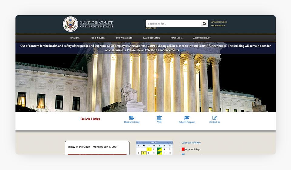 U.S. Supreme Court Website