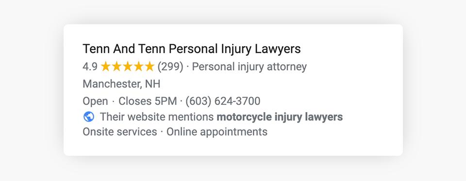 Google Website Justification Example