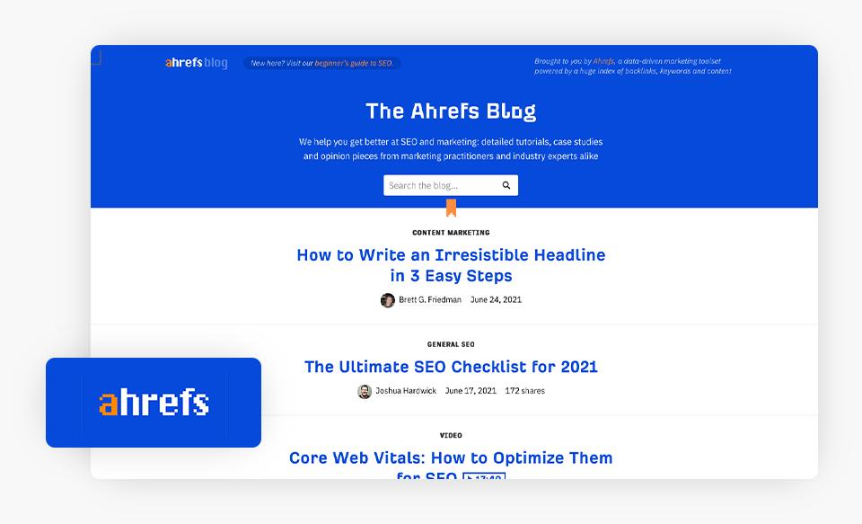 ahrefs blog homepage