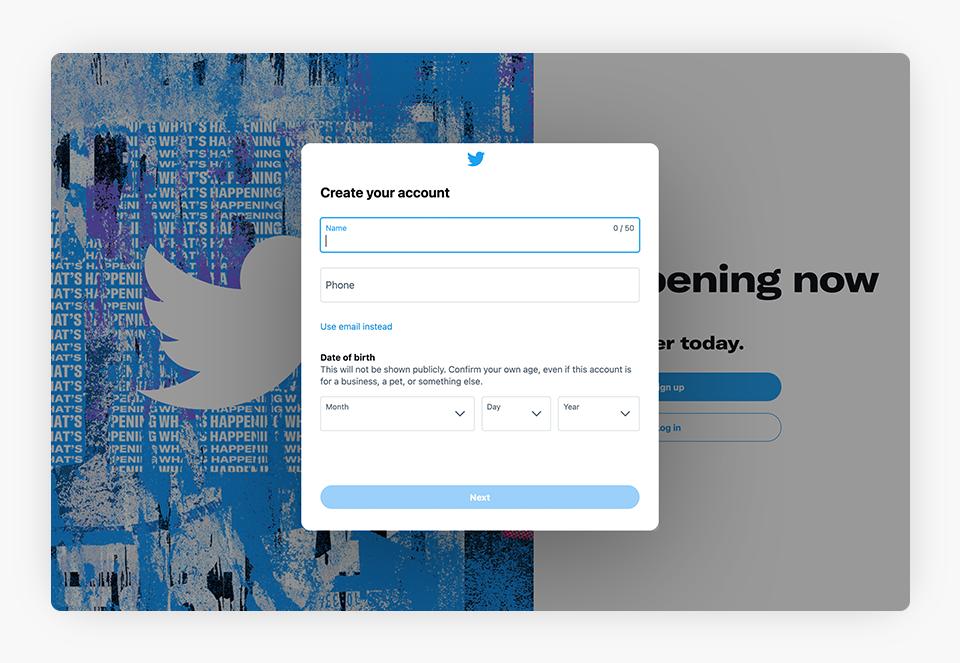 Twitter Create Your Account Screenshot