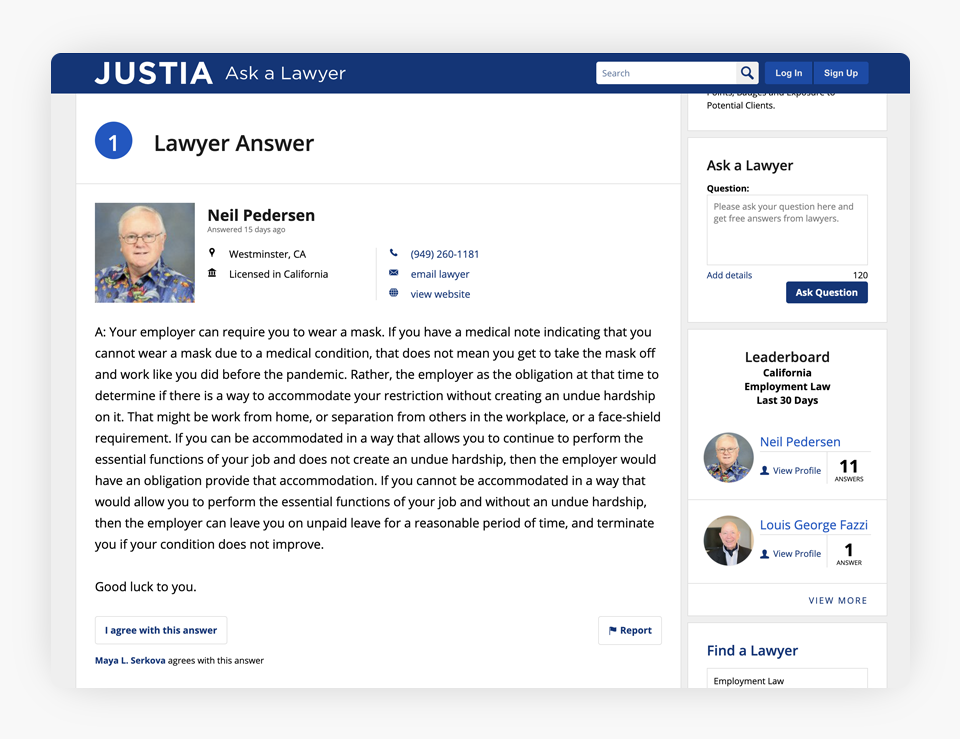 Justia - Ask a Lawyer