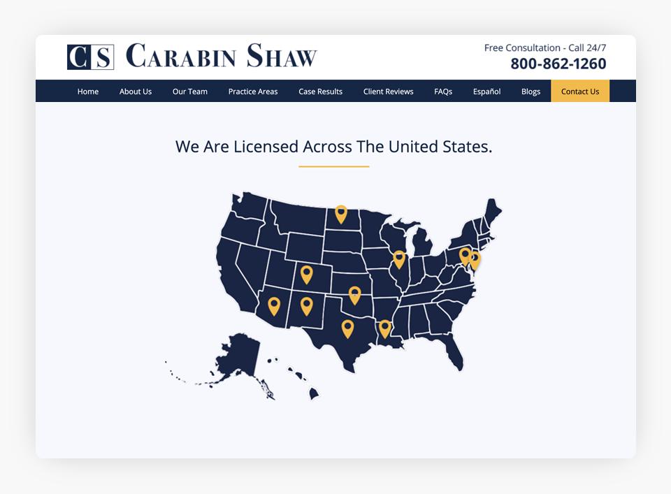 Carabin Shaw - Jurisdictions Map