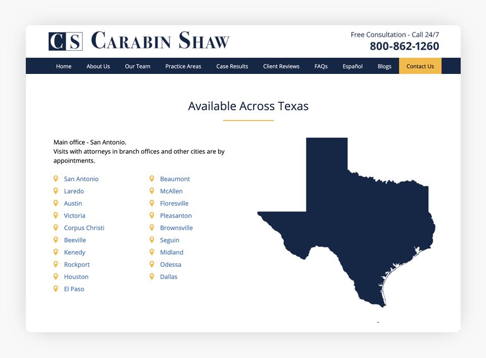 Carabin Shaw - Locations