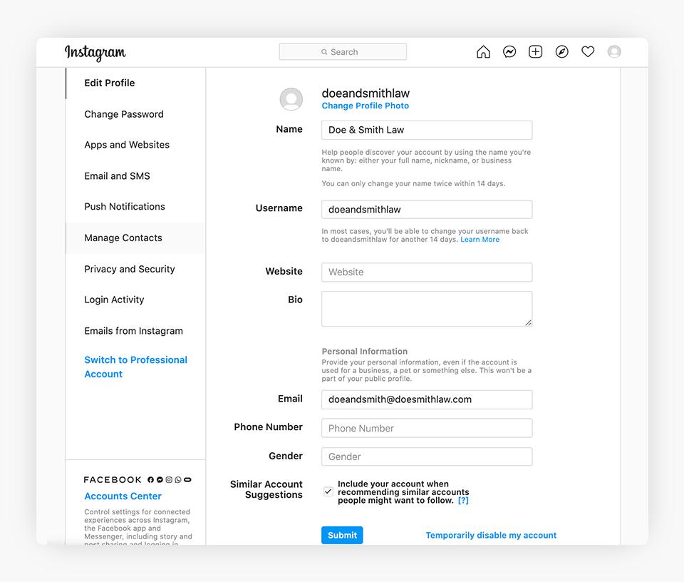 Instagram - Basic Account Details