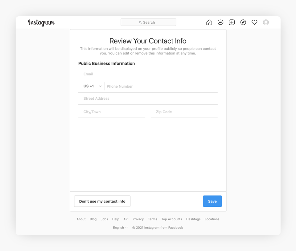 Instagram - Business Information